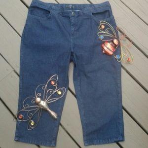 Lee Riders 16W Capri Jeans med. Wash
